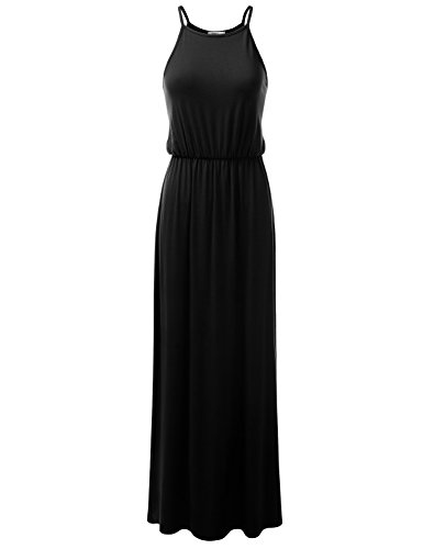 Doublju Stretchy Side Slit Halter Neck Maxi Dress for Women with Plus Size (Made in USA) BLACKROSE Small