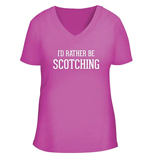 BH Cool Designs I'd Rather Be Scotching - Cute Women's V Neck Graphic Tee, Fuchsia, Small