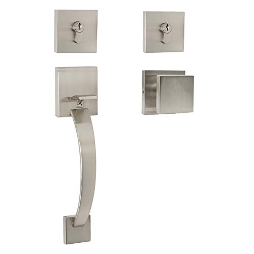 Modern Square Double Cylinder Deadbolt Handleset (for Entrance and Front Door) with Grip Bar Brushed Nickel Entry Door Lockset Leverset for Home Exterior Doors by Probrico