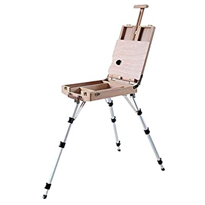 BHDYHM Premium Wooden Easel Foldable Art Tripod Stand with Sketch Box and Storage Shelf Environmental Water-Based Topcoat Thick Aluminum Legs Adjustable Easel Height