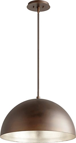 1-Light Dome Pendant Oiled Bronze/Aged Silver Leaf by Quorum Vintage Design Perfect for Re-Station Projects or Adding a Fresh Look To a Kitchen Island, Over a Bar, or a (Aged Silver 1 Light)
