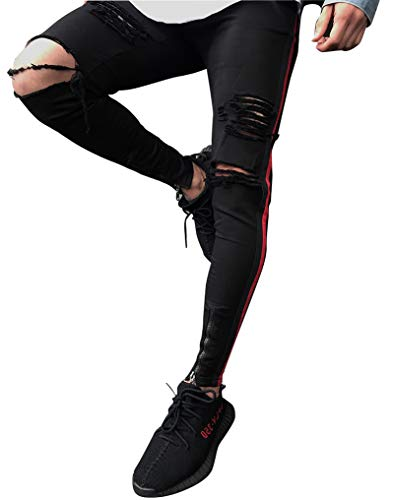 Hombres Pantalones de Deportivos Slim fit Skinny elásticos desgarrados Jeans Negro