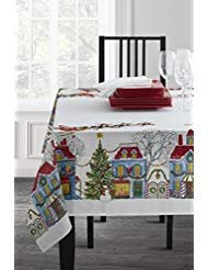 (Christmas Village Fabric Printed Tablecloth, 52
