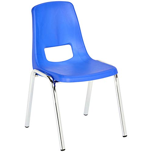 AmazonBasics 14 Inch School Classroom Stack Chair, Chrome Legs, Blue, 6-Pack