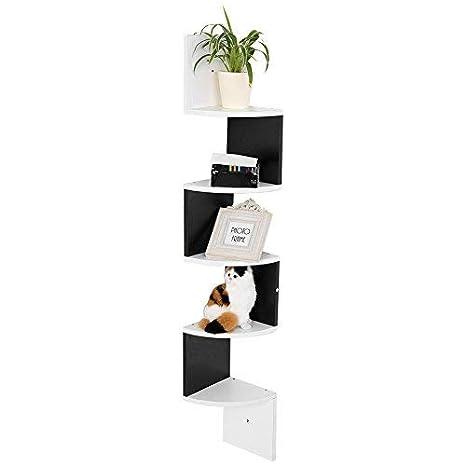 Estantería de esquina de pared (madera, estantería de ...
