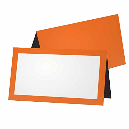 (Orange and Black Place Cards - FLAT or TENT Style - 10 or 50 PACK - White Blank Front with Border - Placement Table Name Seating Stationery Party Supplies Dinner Occasion Label Event (10, TENT STYLE))