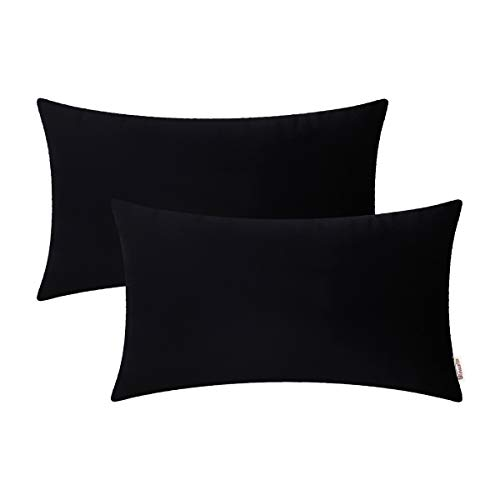- BRAWARM Cozy Bolster Pillow Covers Cases for Couch Bed Sofa Solid Soft Fleece Lumbar Cushion Covers Microfiber Short Velvet Pillowcases for Home Decoration 12 X 20 Inches Black Pack of 2
