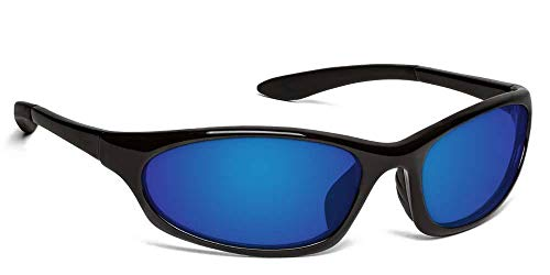 Ono's Grand Lagoon Polarized Bi-Focal Sunglasses in Black with Mirrored Blue Lens