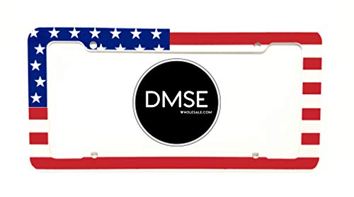 DMSE United States America Plastic License Plate Frame Cover Holder Cool Decorative Design For Any Vehicle Car or Truck (USA Flag)