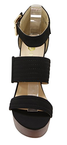 toe wood heel Rachel Chloe Chase platform Black buckled sandals ankle chunky 1 strap Womens open amp; OqxCa