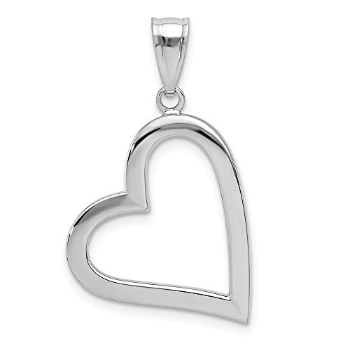 14k White Gold Heart Pendant Charm Necklace Love Fine Jewelry Gifts For Women For Her
