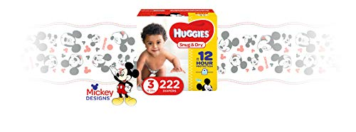 Large Product Image of HUGGIES Snug & Dry Baby Diapers, Size 3 (fits 16-28 lbs), One Month Supply (222 Count), Packaging May Vary