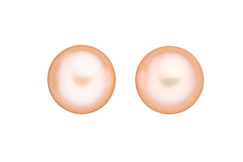 10mm AAA-luster rich nacre half-drilled button peach freshwater pearls beads