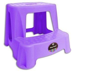 compact et robuste violet Marchepied//escabeau 2 marches en plastique
