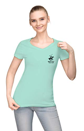 Beverly Hills Polo Club Ladies V Neck Cap Sleeve Top Basic Tee with Embroidered Logo - Mint/Black Large