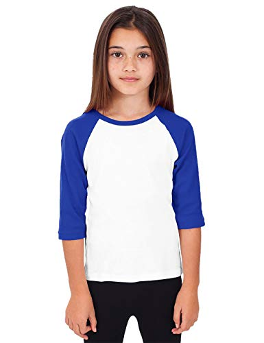 Hat and Beyond Kids Raglan Jersey Child Toddler Youth Uniforms 3/4 Sleeves T Shirts (X-Small (2-3 Year), (Kid) 5bh03 White/Royal Blue)