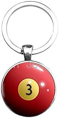 Billar bola clave cadena rojo 3 ocho bola llavero personalizado ...