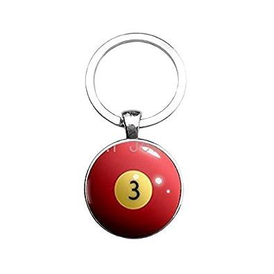 Billar bola clave cadena rojo 3 ocho bola llavero ...