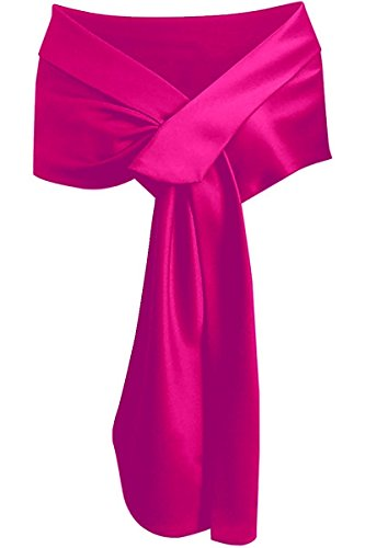 LHY Costumes Satin Shawl Wrap For Evening Party (Rose Red)
