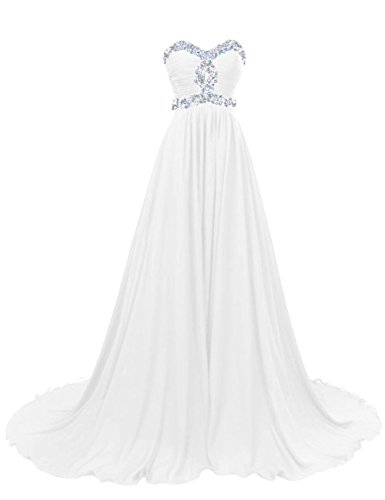 Diyouth Long A-Line Beaded Sweetheart Lace-Up Prom Dress with Train White Size 14