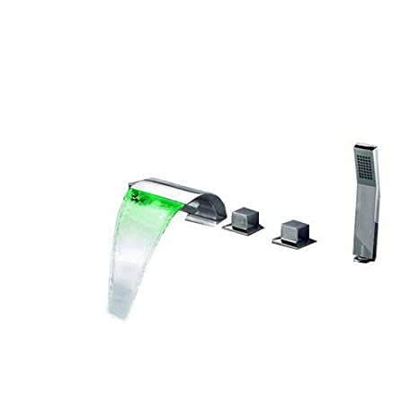 Bathtub Faucet.Homi Victoria Bathroom Waterfall Bathtub Faucet Led Roman Tub Filler With Handheld Shower Set With Led