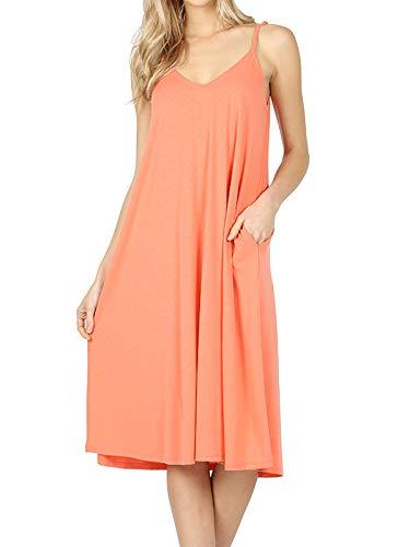 MixMatchy Women's Summer Casual Plain Flowy Pockets Loose Beach Cami Dress Deep Coral S