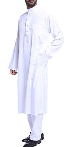Fensajomon Men's Plus Size Arabic Abaya Muslim Middle East Outfit Arabian Robe White XL by Fensajomon