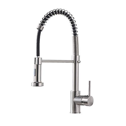 OWOFAN Kitchen Faucet with Pull Down Sprayer Lead-Free Single Handle Spring Kitchen Sink Faucet,...