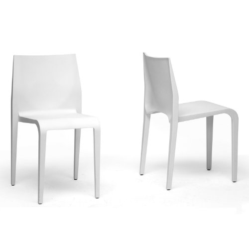 Baxton Studio Blanche Molded Plastic Modern Dining Chair, White, Set of 2