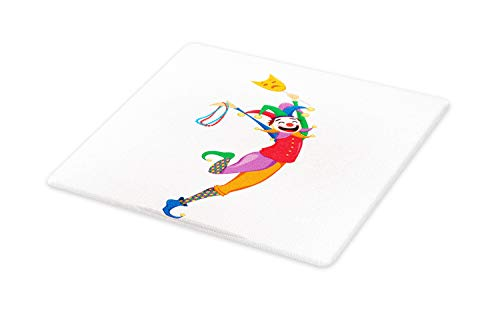 Ambesonne New Orleans Cutting Board, Mardi Gras Themed Jester Holding Mask and Necklaces Colorful Cartoon Character, Decorative Tempered Glass Cutting and Serving Board, Large Size, Multicolor