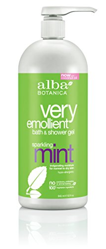 Alba Hypoallergenic Body Wash (Alba Botanica Very Emollient, Sparkling Mint Bath & Shower Gel, 32 Ounce (Packaging May Vary))