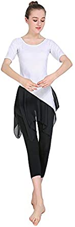 Tookang Womens Modern Latin Dance Body Dress Practice Costume Tassel Bottom Tops Workout Clothes Activewear Athletic Sport Leotard Two-Piece Suit