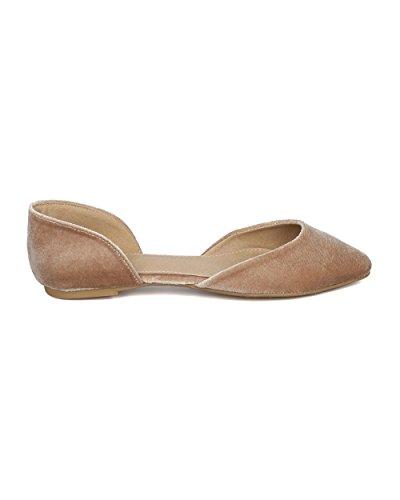 Alrisco Women Dorsay Ballet Flat - Velluto A Punta Piatto In Velluto - Dressy Casual Versatile Ogni Giorno Piatto - Hd55 Di Mark Maddux Collection Nude Velluto