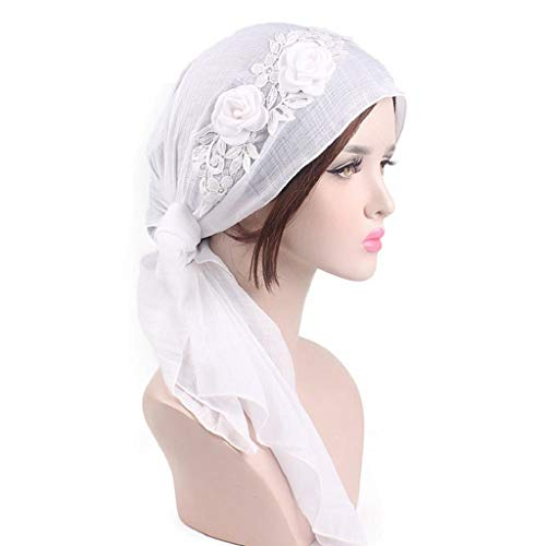 020 Yarn (Sacow Scarf Turban Hat Cap, Women's Cotton Yarn Scarf Chemo Hat Headwraps Cancer Hats with Flowers Decor (White))