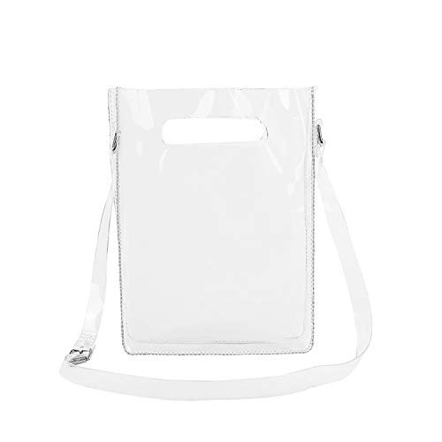 (Patty Both Clear Crossbody Messenger Shoulder Bag or Women Handbag with Adjustable Strap, NFL Stadium Approved (Clear Bag-S))
