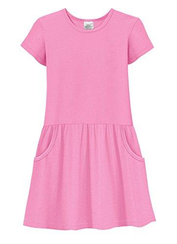 City Threads Girls Jersey Short Sleeve Drop Waist French Pocket Dress Cotton SPD Sensory Sensitive Summer School Party, Medium Pink, 8