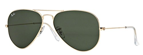 Ray-Ban RB3025 (L0205) Gold/Gray Green 58mm, Sunglasses Bundle with original case, cloth, booklet and accessories (6 items) (Rb3025 58 Original Aviator)