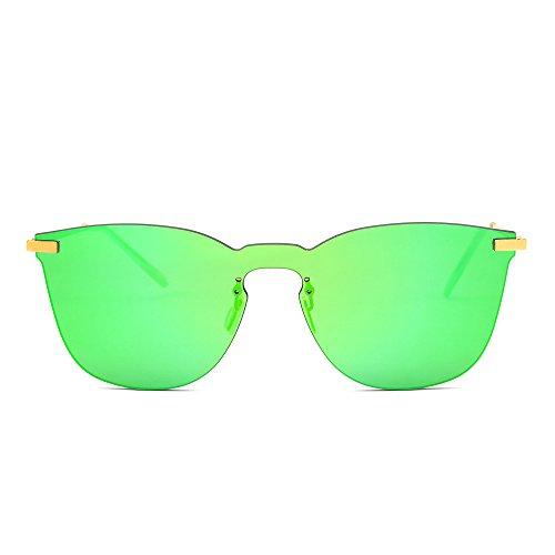 Rimless Mirrored Wayfarer Sunglasses One Piece Metal Flat Eyeglasses Men Women (Gold / Mirror - Wayfarer Metal Flat