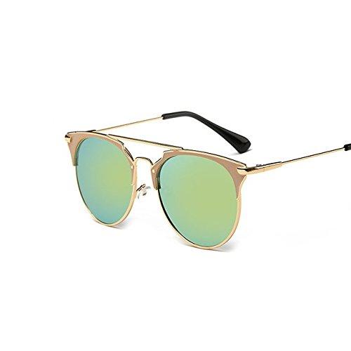 Tocoss (TM) Rétro rond œil de chat Lunettes de soleil Homme Femme Designer Eyewear Cadre métallique UV400Lunettes de soleil femelle Oculos de sol lunette de soleil, GoldGold