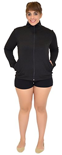 Stretch is Comfort Women's Plus Size Rayon Live Love Dance Warm Up Black Jacket XX-Large