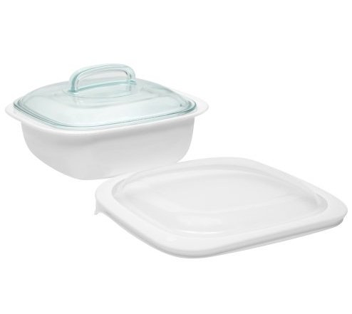 Corelle Bake, Serve, Store 1.5 Quart Lightweight Bakeware With Glass and Plastic Lids (3 Piece Casserole Bake Set) (Ceramic Casserole Corelle)