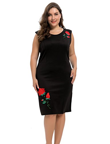 Chicwe Women's Plus Size Stretch Scuba Sheath Dress with Rose Embroidery - Knee Length Casual Party and Work Dress 1X ()