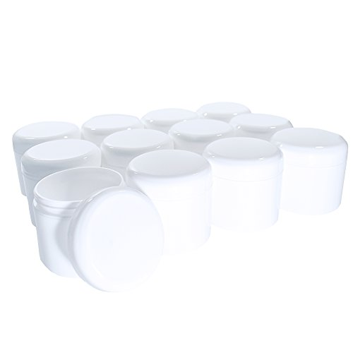 4 oz. White Plastic Double Walled Jar with White Dome Cap