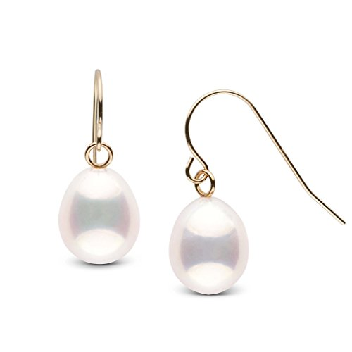 White Metallic Drop 8.0-9.0 mm Freshwater Cultured Pearl French Wire Earrings 14K Yellow (Cultured Freshwater Pearl French Wire)