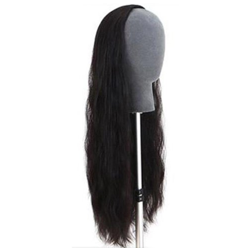 DAYISS New Women's Long Curly Wavy 3/4 Full Hair Half Wig Clip in Wigs 3 Colors (Black)