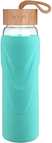 Origin - Best WIDEMOUTH BPA-Free Glass Water Bottle with Protective Silicone Sleeve and Bamboo Lid - Dishwasher Safe (Teal, 32 Ounce)