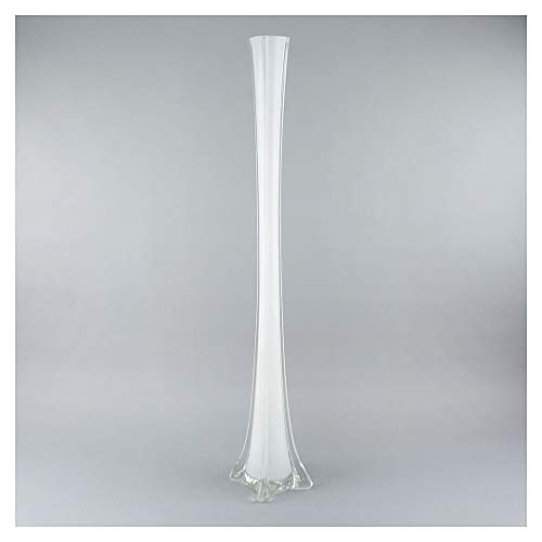 ZUCKER White Glass Eiffel Tower Vase - Tall Wedding Decoration Centerpiece, Home Decor