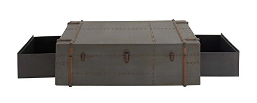 """Deco 79 14806 Rectangular Gray & Brown Pine Wood Chest Coffee Table w/ Storage Drawers, 48"""" L x 17"""" H from Deco 79"""