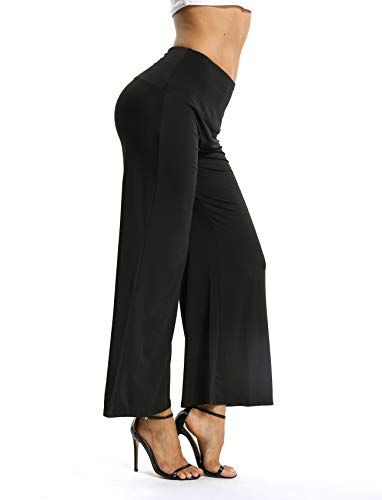 SEASUM Women's Comfy Soft High Waist Wide Flare Leg Palazzo Lounge Pants Loose Fit Stretchy Casual Long Modal Yoga Leggings S ()
