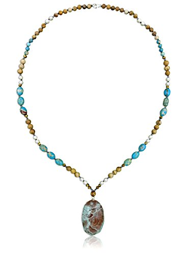 - MGR MY GEMS ROCK! Genuine Stone Imperial and Picture Jasper Long Necklace with Pendant, 31